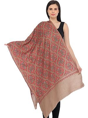 Moonlight Kashmiri Tusha Stole with All-Over Needle Hand-Embroidery