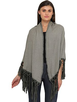 Cape with Woven Stripes and Leather Tassles