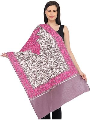 Dusky-Orchid Stole from Kashmir with Ari-Embroidered Paisleys