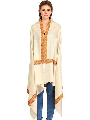 Cream Plain Pure Pashmina Shawl from Kashmir with Needle Hand-Embroidery on Border