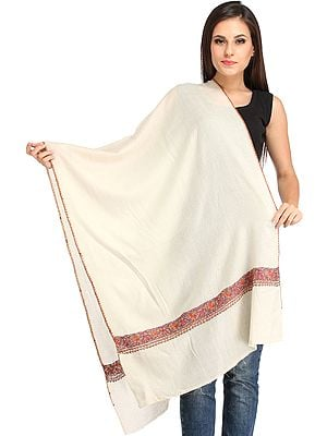 Cream Plain Tusha Stole from Kashmir with Sozni-Hand Embroidery on Border