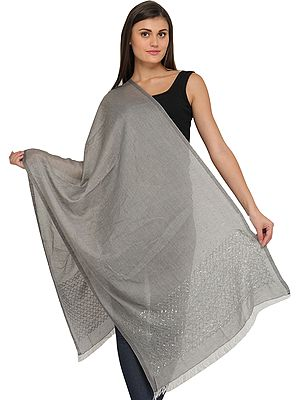Plain Summer Stole with Embroidered Sequins on Border