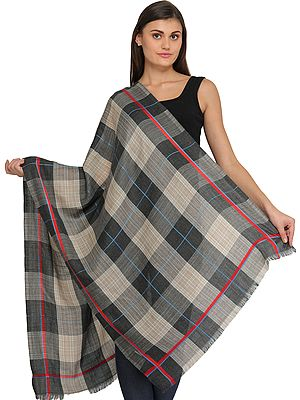 Gray and Moonlight Plaid Stole