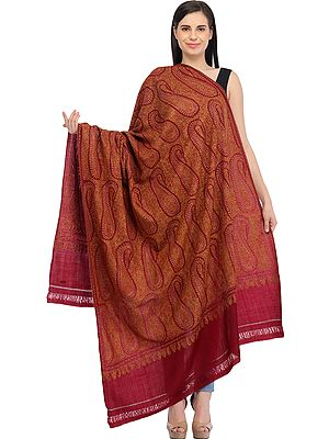 Cordovan-Red Kashmiri Shawl with Sozni Hand-Embroidery and Paisleys