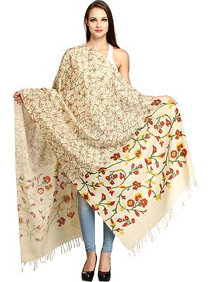 Almond-Oil Dupatta from Jharkhand with Floral Print on Border