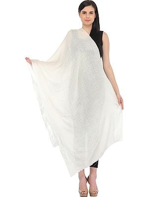 Ivory Semi-Cashmere Stole with Missing-Checks in Self