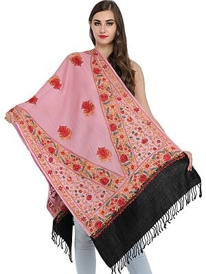 Double-Colored Ari Stole from Amritsar with Floral-Embroidery