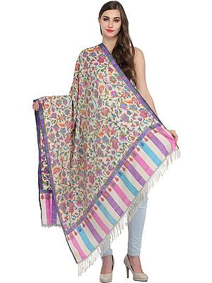 Cream Authentic Kani Pure Pashmina Shawl with Kadha Handloom Weave