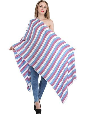 Tri-Color Fine Pure Wool Stole from Nepal with Woven Stripes