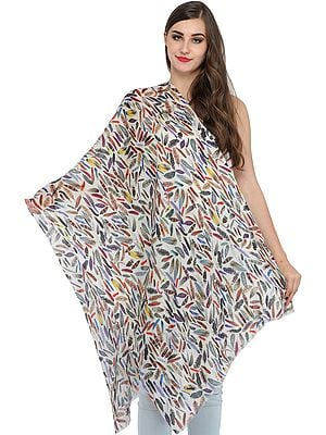 Multicolored Digital Printed Stole with Embroidered Beads