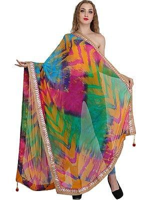 Multicolored Tie-Dye Printed Dupatta from Jodhpur with Gota Border