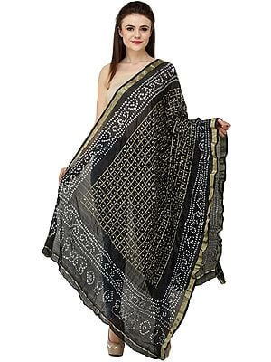 Bandhani Tie-Dye Gharchola Dupatta from Jodhpur with Golden Thread Weave