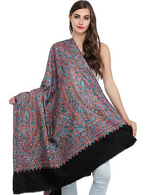 Jet-Black Kashmiri Pure Pashmina Shawl with Papier Mache Hand-Embroidered Paisleys