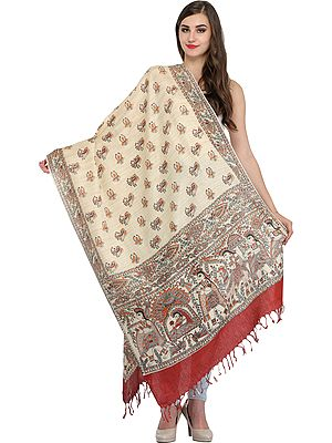 Cream and Brown Dupatta from Bengal with Madhubani Printed  Marriage Procession