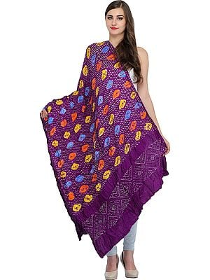 Pansy-Purple Bandhani Tie-Dye Shawl from Gujarat with Large Bootis