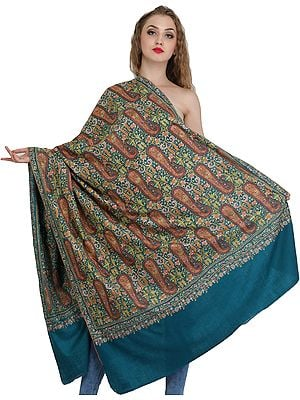 Colonial-Blue Kashmiri Pure Pashmina Shawl with Papier Mache Hand-Embroidered Paisleys