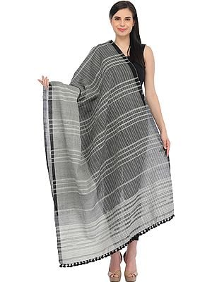 Black and Gray Shawl from Kutch with Woven Stripes
