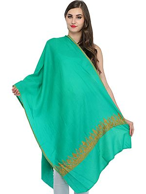 Plain Kashmiri Tusha Stole with Sozni Hand-Embroidered Paisleys on Border