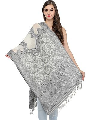 Gray and Ivory Jamawar Stole with Embroidered Beads and Sequins