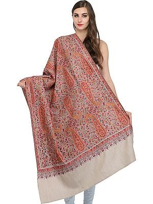 Whitecap-Gray Paisley Kashmiri Pure Pashmina Shawl with Papier Mache Hand-Embroidery All-Over