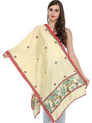 Vanilla-Cream Madhubani Stole from Bihar with Hand-Painted Pair of Fishes and Bootis