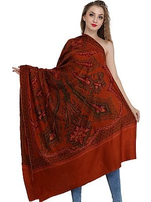 Tri-Colored Pashmina Shawl from Kashmir with Sozni Hand-Embroidery