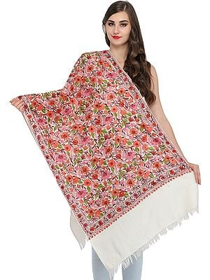 Kashmiri Stole with Ari-Embroidered Flowers