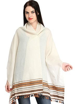 Ivory Stole from Kutch with Woven Border