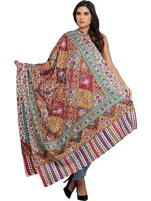 Multi-color Kalamkari Shawl from Amritsar with Dense Ari-Embroidery