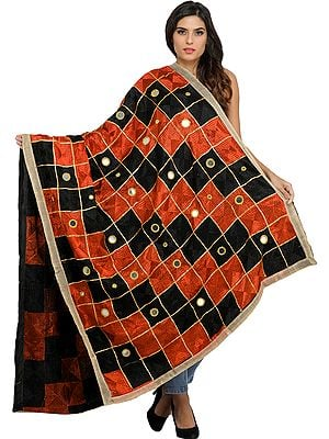 Phulkari Dupatta from Punjab with Embroidery All-Over and Mirrors