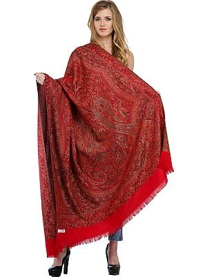 Reversible Jamawar Shawl with Woven Paisleys