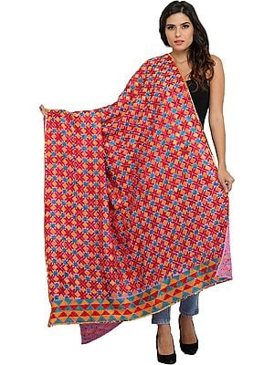 Phulkari Dupatta from Punjab with Embroidery All-Over and Sequins