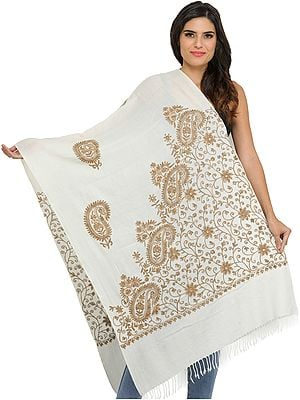 Ari-Embroidered Stole from Amritsar with Embroidered Beads and Sequins