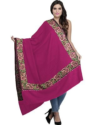 Plain Shawl from Amritsar with Embroidered Paisleys on Border