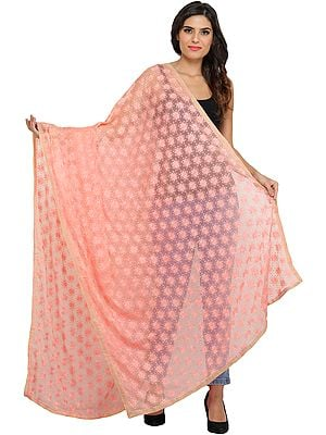 Phulkari Dupatta from Punjab with Embroidered Bootis in Self-color Thread