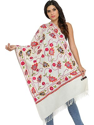 Off-White Stole from Amritsar with Ari-Embroidered Leaves