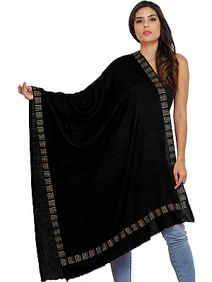 Plain Stole from Amritsar with Bead-work on Border