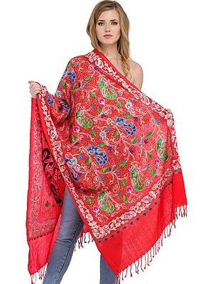 Stole from Amritsar with Ari-Embroidered Paisleys