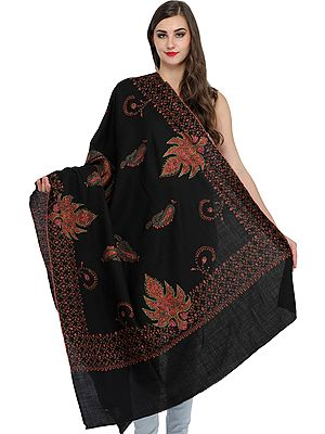 Jet-Black Tusha Shawl from Kashmir with Sozni Hand-Embroidered Chinar Leaves