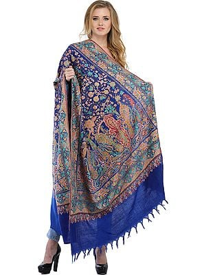 Dazzling-Blue Kashmiri Pure Pashmina Shawl with Papier-Mache Embroidery by Hand