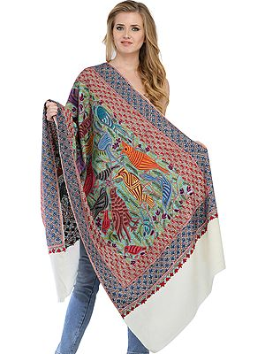 Ivory Kashmiri Stole with Ari Hand-Embroidered Birds