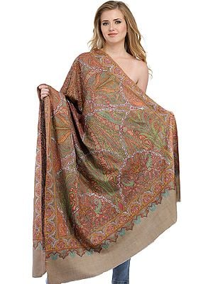 Feather-Grey Kashmiri Pure Pashmina Shawl with Kalamkari Hand-Embroidery All-Over