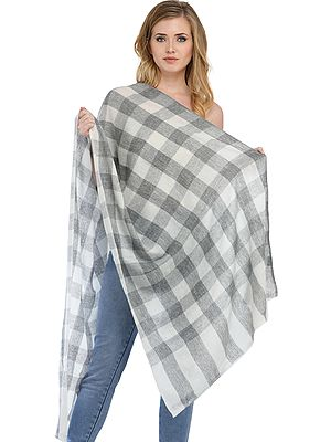 Cashmere Stole from Nepal with Woven Checks