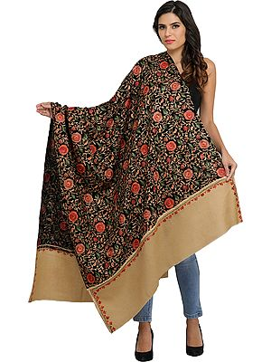 Shawl from Amritsar with Ari-Embroidered Roses