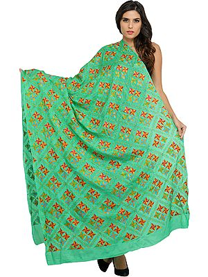 Phulkari Dupatta from Punjab with Hand-Embroidered Flowers All-Over