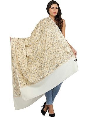 Off-White Ari Embroidered Paisleys Shawl from Amritsar