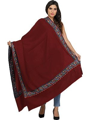 Plain Shawl from Amritsar with Ari-Embroidered Floral Border