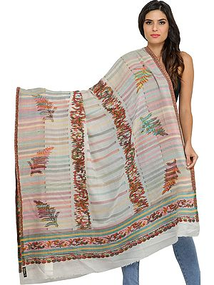 Ivory Kani Cashmere Shawl from Amritsar with Woven Leaves and Stripes