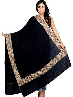 Plain Shawl from Amritsar with Woven Kani Patch Border