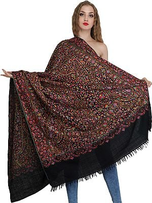 Black Pure Pashmina Shawl from Kashmir with Multi-Colored Kalamkari Embroidery by Hand